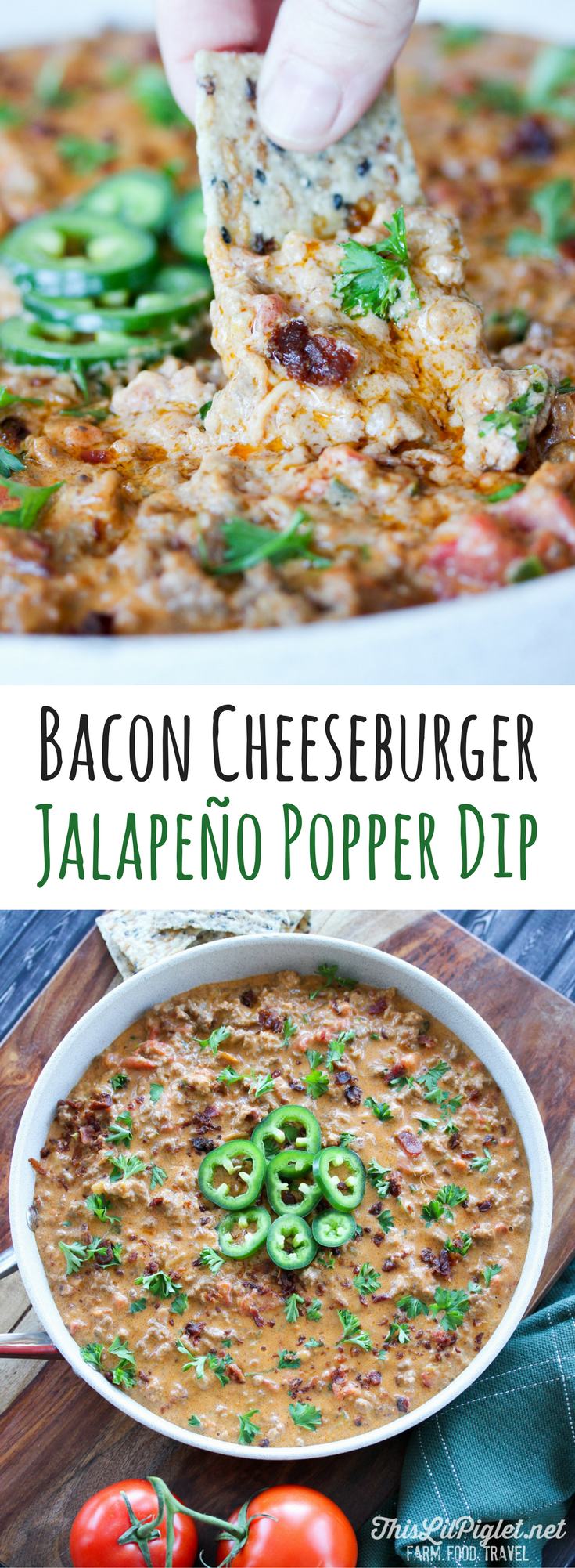 Bacon Cheeseburger Jalapeño Popper Dip - holiday entertaining with appetizers guests love // thislilpiglet.net