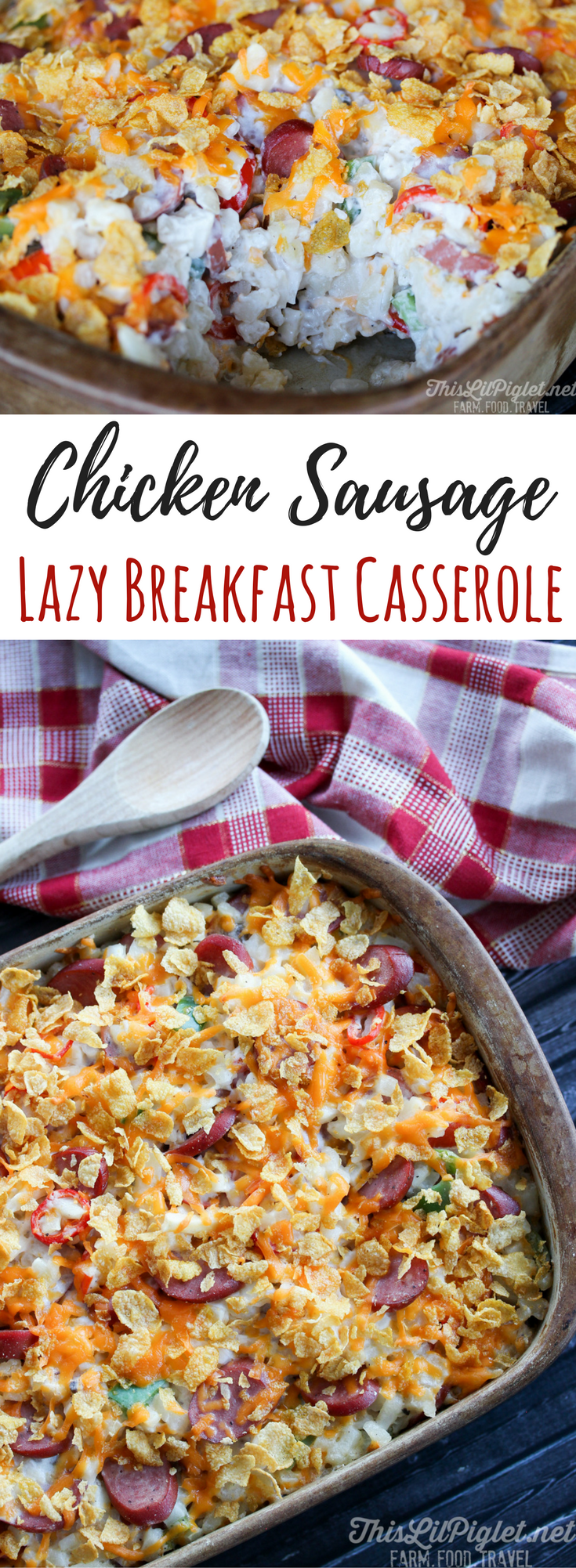 Chicken Sausage Lazy Breakfast Casserole Bake // thislilpiglet.net
