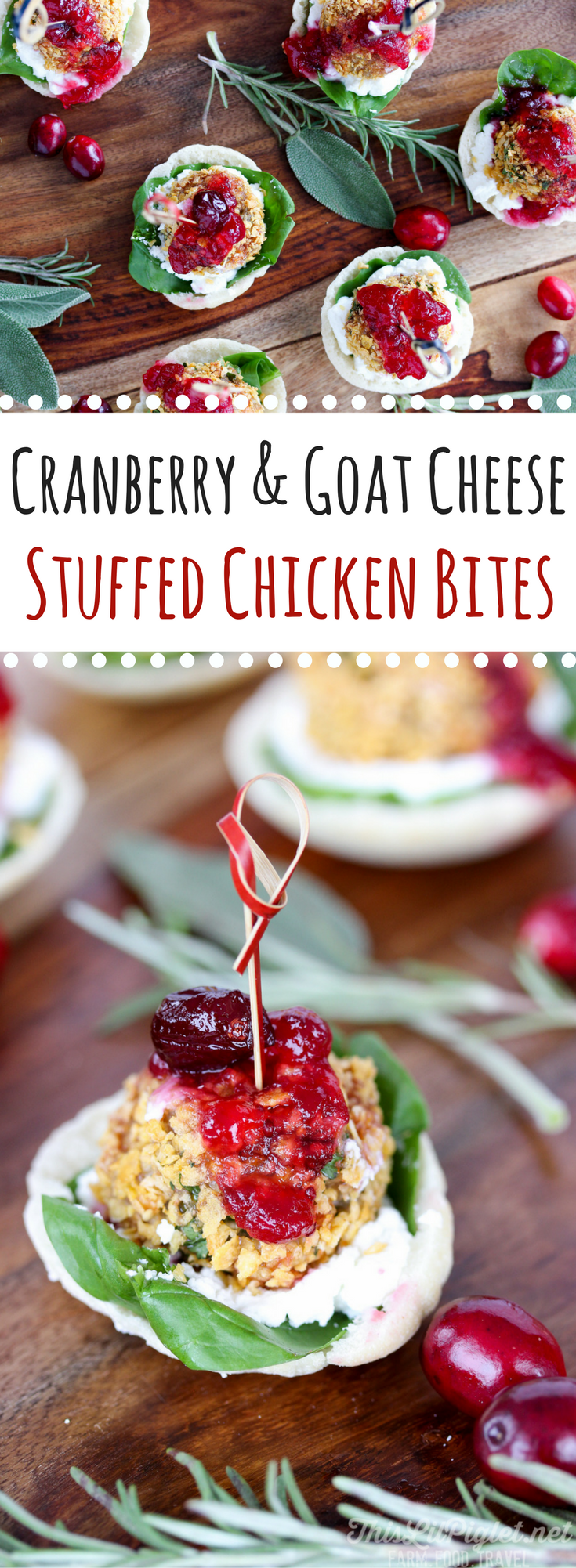 Cranberry and Goat Cheese Stuffed Chicken Bites // thislilpiglet.net
