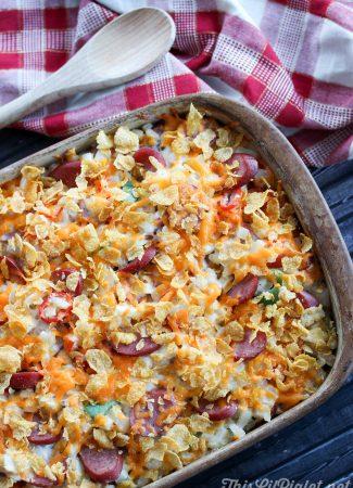 Chicken Sausage Lazy Breakfast Casserole // thislilpiglet.net