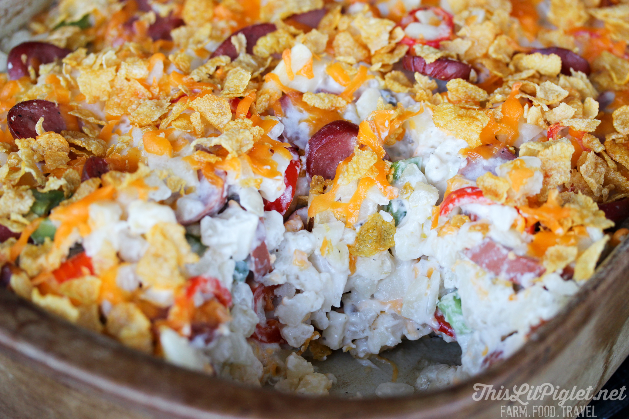 Chicken Sausage Lazy Breakfast Casserole with Hashbrowns // thislilpiglet.net