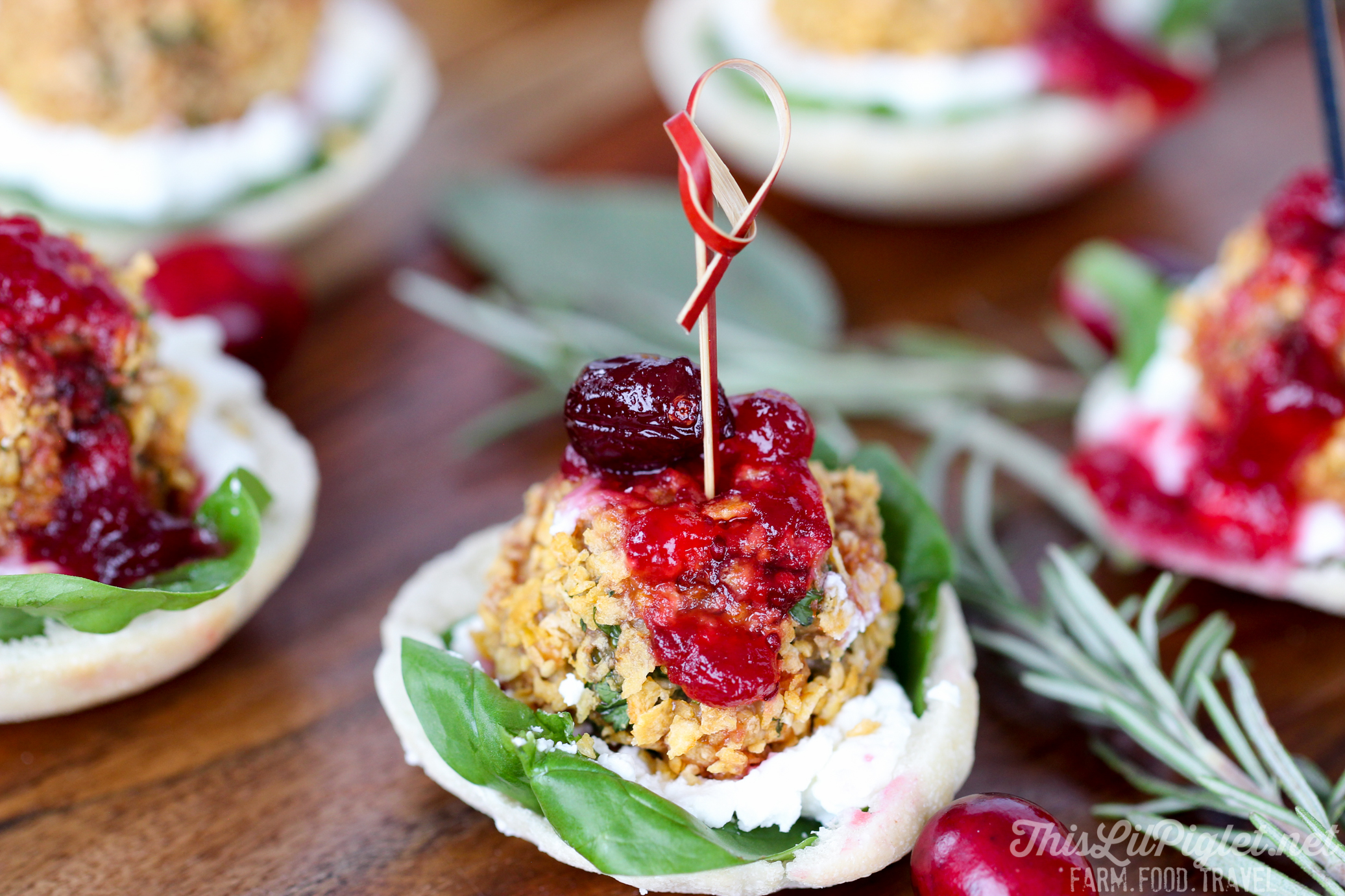 Cranberry and Goat Cheese Stuffing Chicken Bites New Year Appetizer // thislilpiglet.net