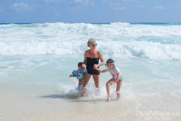 Family Vacations for All Ages at Cancun Paradise Club Resort: Things to Do - White Sand Beach Jumping Waves // thislilpiglet.net