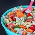 Garden Vegetable Rainbow Pasta Salad with Ham and Italian Dressing // thislilpiglet.net