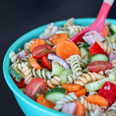 Rainbow Pasta Salad with Italian Dressing