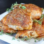 Baked Ranch Crispy Chicken Thighs // thislilpiglet.net