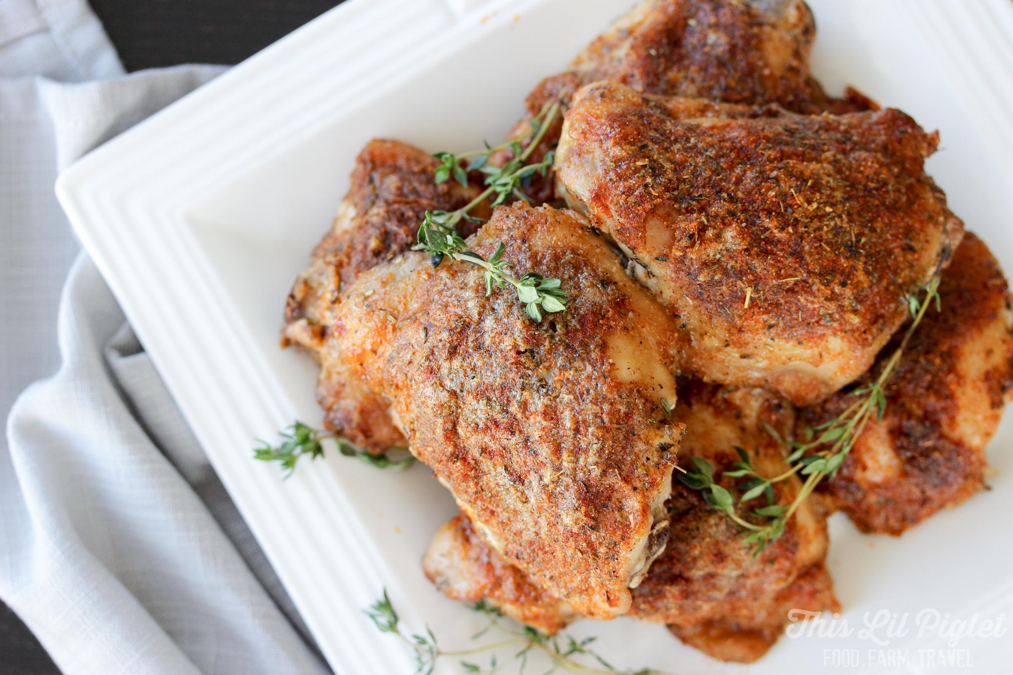 Oven Baked Ranch Crispy Chicken Thighs Seasoned // thislilpiglet.net
