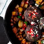 Campfire Greek Lamb Burgers with Dilly Potatoes // thislilpiglet.net