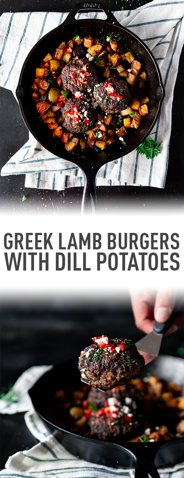NCampfire Greek Lamb Burgers with Grilled Dill Potatoes // thislilpiglet.net