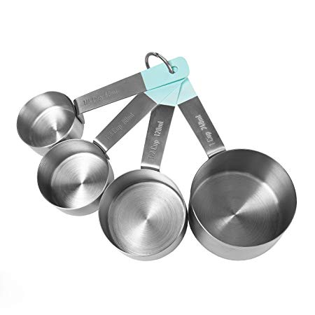 Jamie Oliver Measuring Cups Set, Stainless Steel, Teal