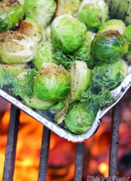 Balsamic Roasted Campfire Brussels Sprouts // thislilpiglet.net