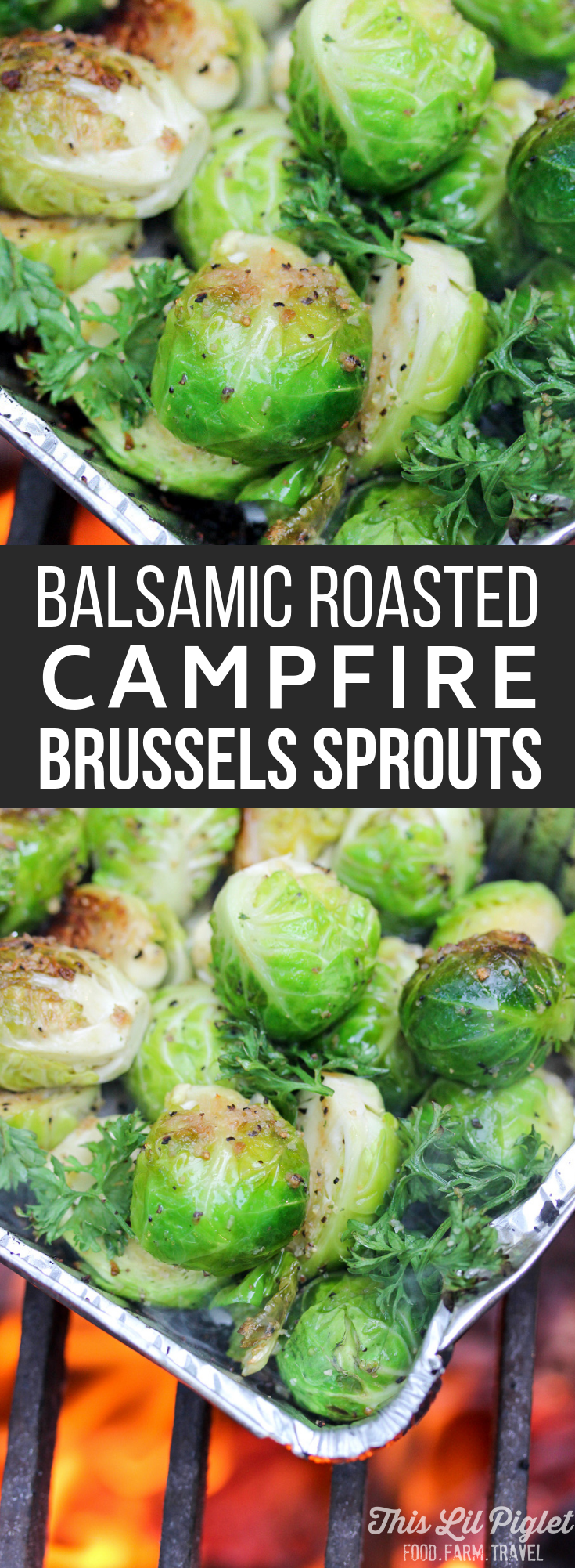 Camping Food: Balsamic Roasted Campfire Brussels Sprouts // thislilpiglet.net