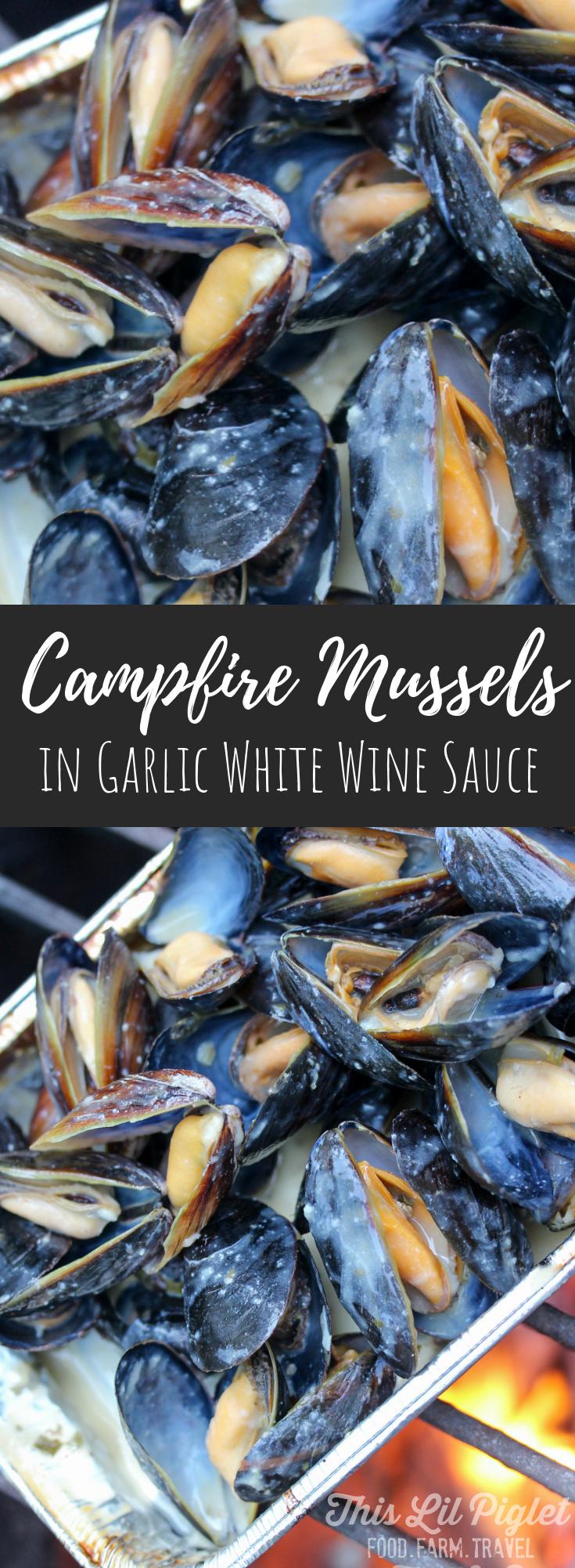 Campfire Mussels in Garlic White Wine Sauce // thislilpiglet.net