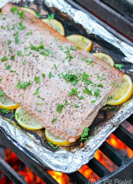 Grilled Lemon Pepper Campfire Salmon // thislilpiglet.net