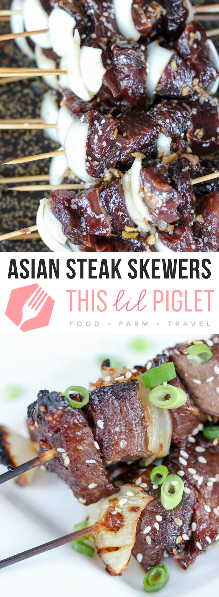 Asian Steak Skewers Appetizer // thislilpiglet.net
