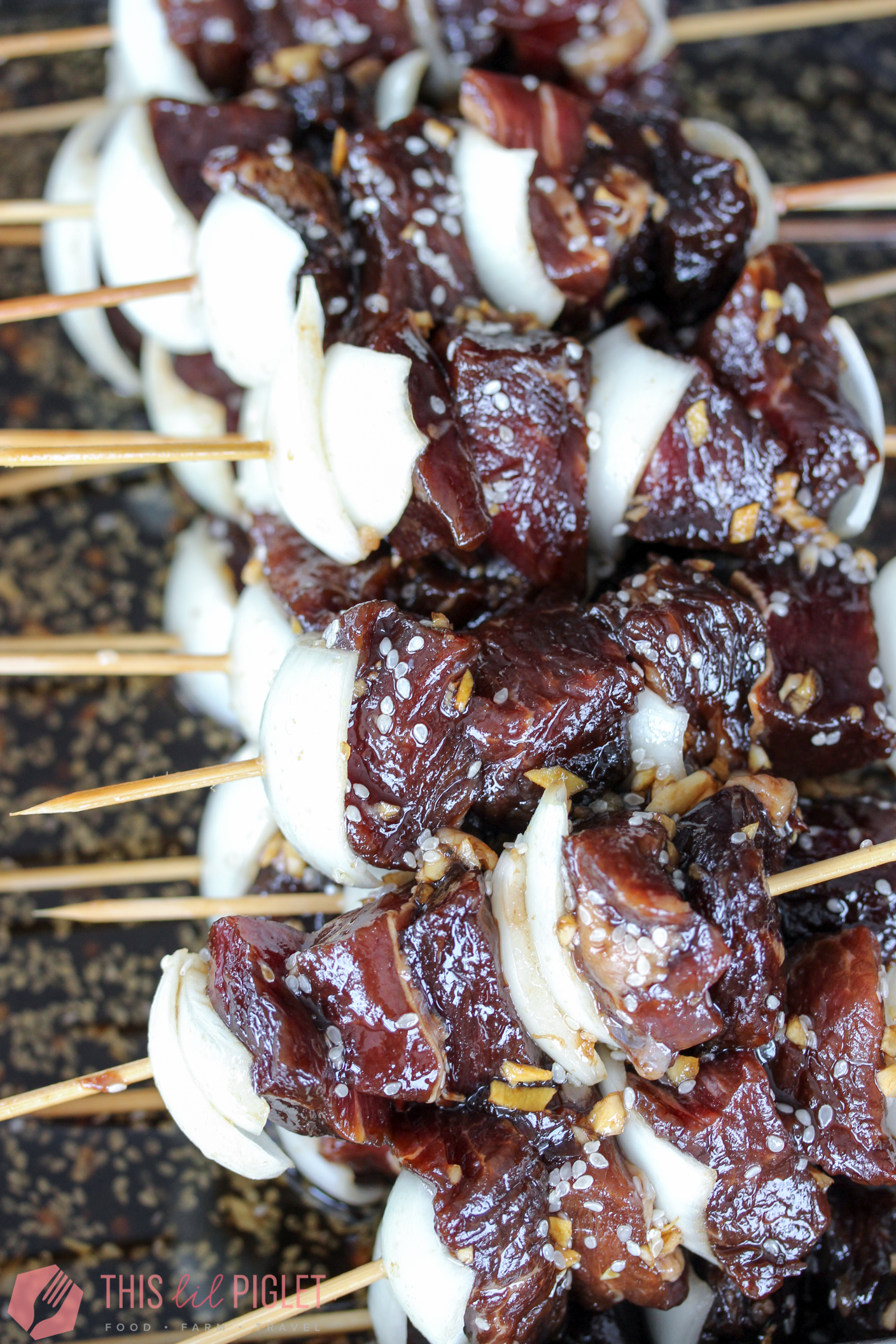Asian Steak Skewers Marinated // thislilpiglet.net