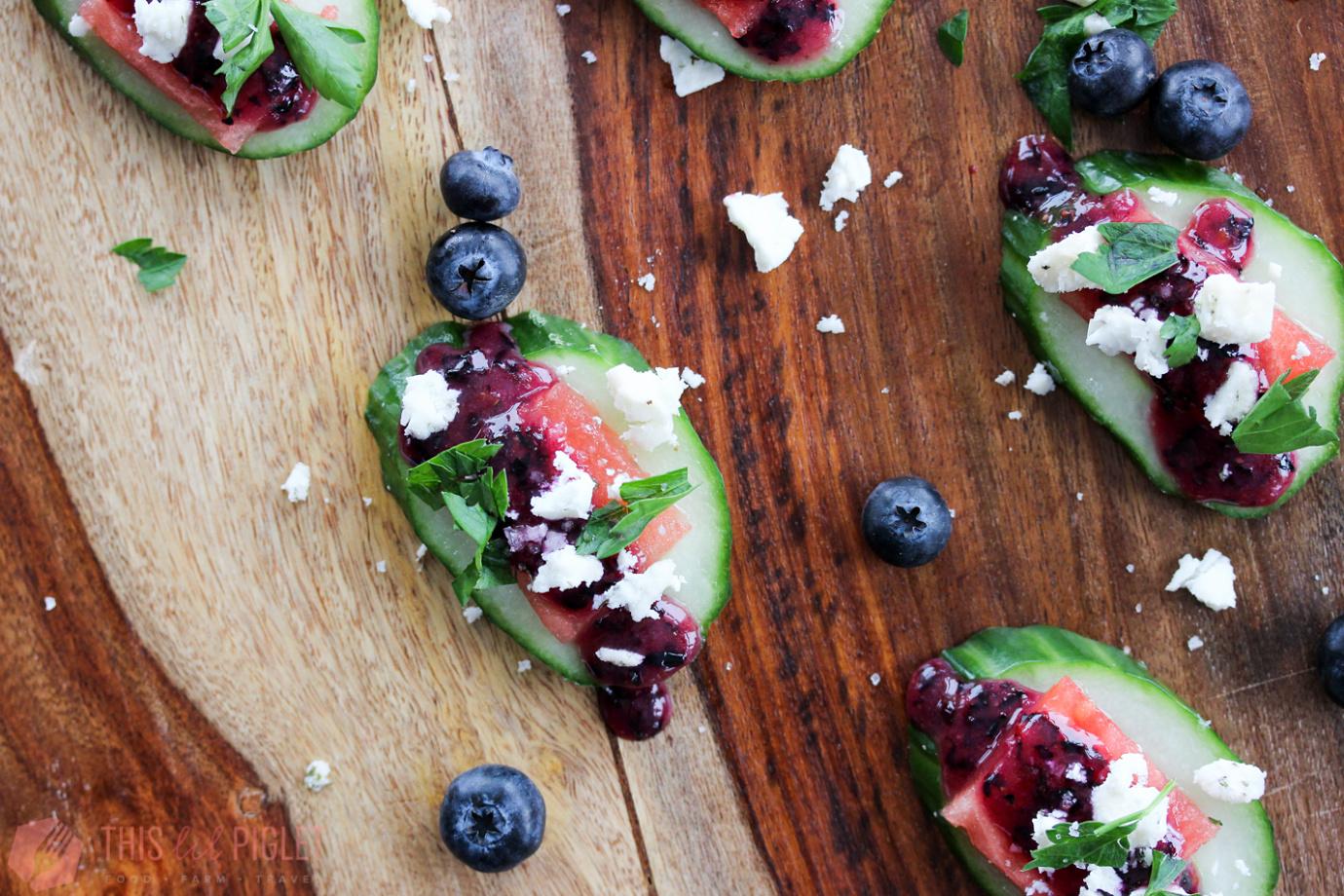 Cucumber Watermelon Vegetarian Appetizers // thislilpiglet.net