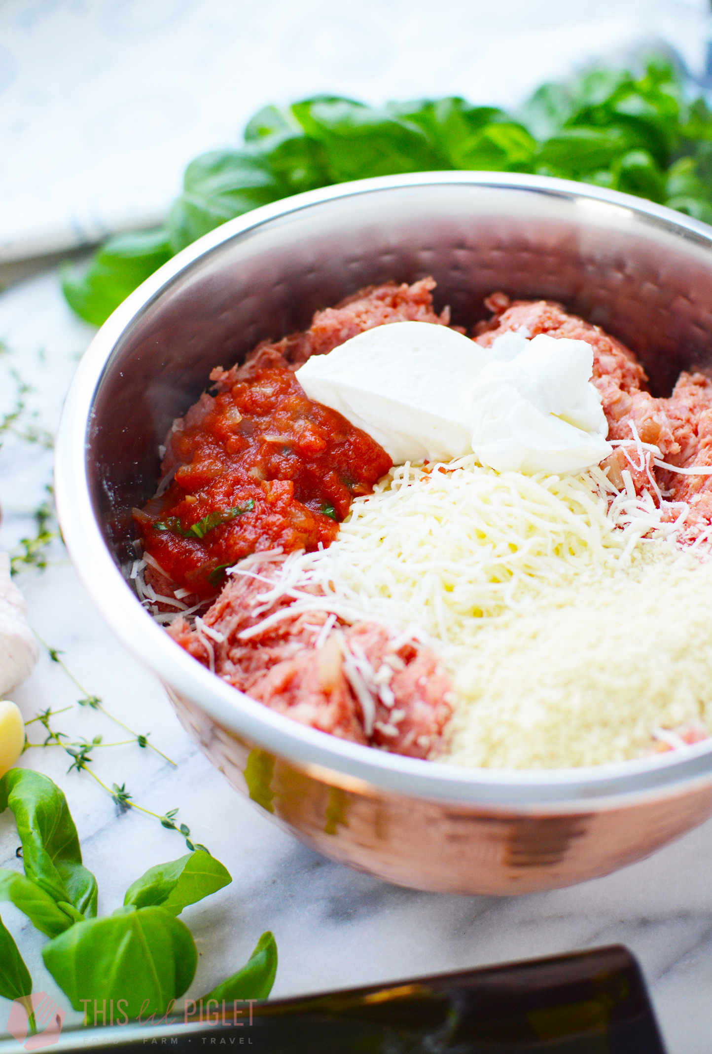 Cheesy Meatball Pasta Bake: Meatball Mixture // thislilpiglet.net