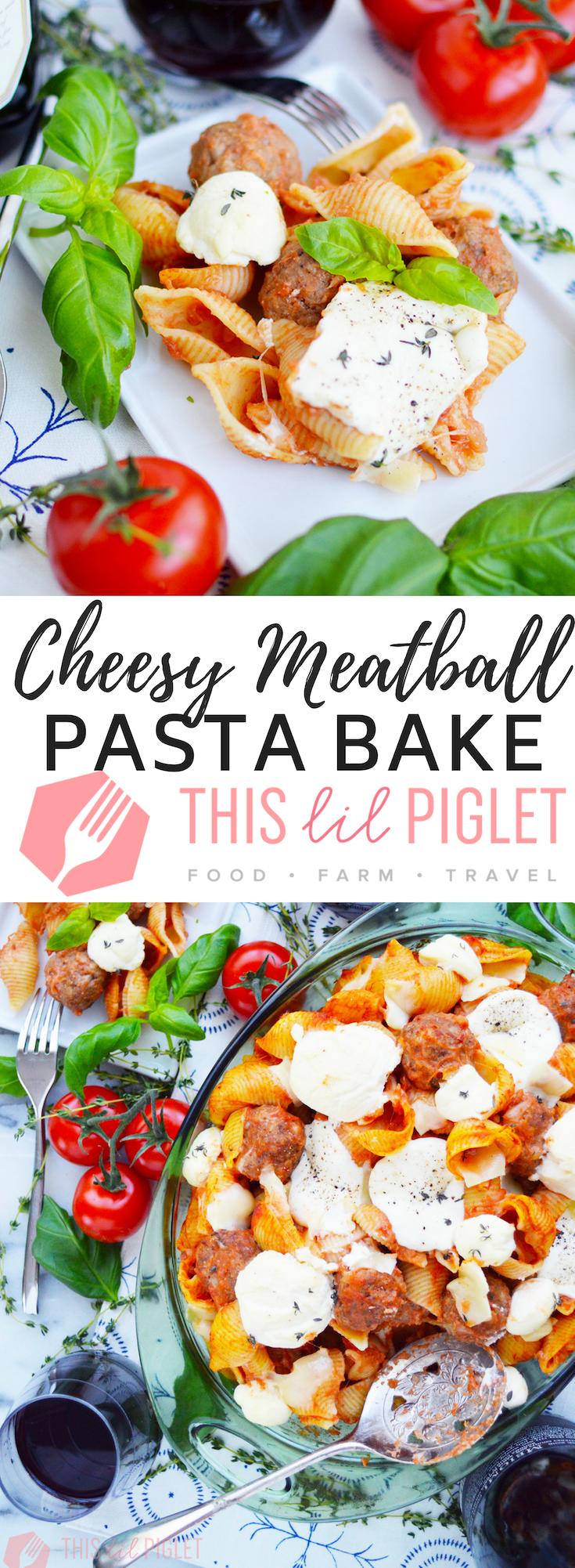 Cheesy Meatball Pasta Bake Casserole // thislilpiglet.net
