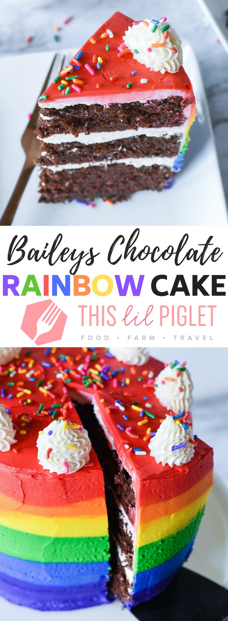 Boozy Baileys Chocolate Rainbow Cake // thislilpiglet.net