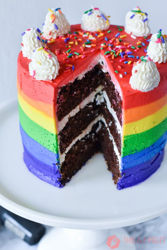 Baileys Chocolate Rainbow Cake Cut Slice // thislilpiglet.net